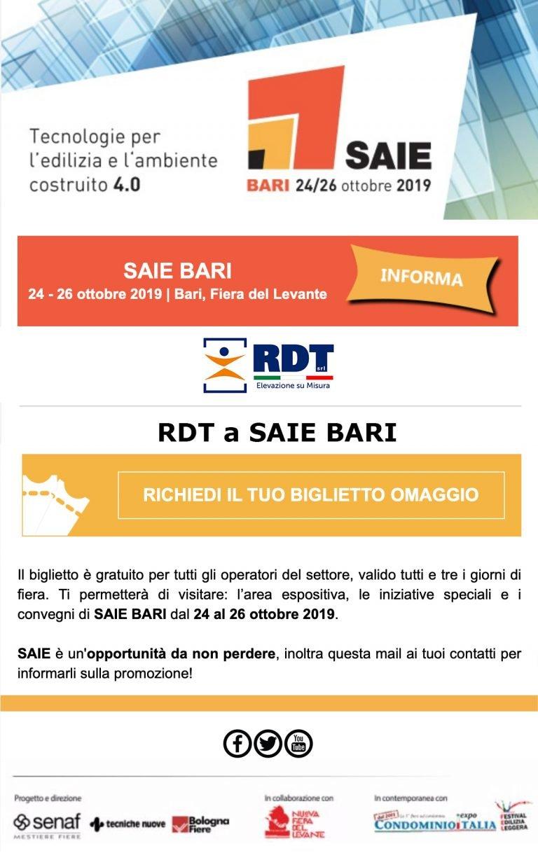 RDT sarà presente al SAIE presso la Fiera Del Levante dal 24 al 26 Ottobre 2019